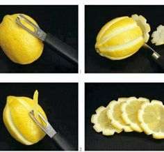 What A Pretty Way To Spruce Up Your Lemonade...Instead Of The Usual Lemon Slices, Score The Lemons As Shown To Make The Slices Look Like Flowers...Pretty!