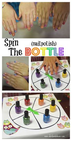 Cream Float Bar Spin the (nail polish) Bottle - Fun sleepover game!Spin the (nail polish) Bottle - Fun sleepover game! Fun Sleepover Games, Girl Spa Party, Sleepover Birthday Parties, Birthday Games, Girl Birthday, 10th Birthday, Girl Sleepover Party Ideas, Girl Party Games, Fun Games