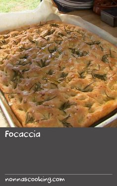 """Focaccia   """"This is a typical Italian bread recipe from the home of the best focaccia and olive oil in the world - Liguria! Remember to use good quality extra virgin olive oil and sea salt, and to allow sufficient time for the dough to rise before baking. Serve with wood-fired chicken with white wine and oreganoandcaponata."""" Andre Ursini,Poh & Co."""