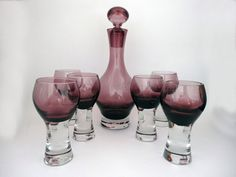 Vintage purple Caithness 'Canisbay' decanter & set of six liquer glasses - Scottish heather (amethyst) glass - Retro home dining