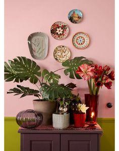 Retro bloempotjes en schaaltjes aan de muur