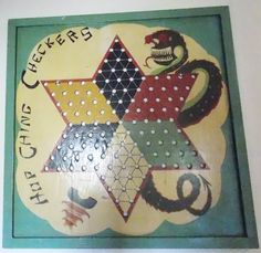 A homemade Chinese checkerboard made to look like a manufactured piece from our collection Game Boards, Board Games, Antique Toys, Game Art, Folk Art, Coasters, Chinese, Homemade, Antiques