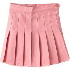 Choies Pink Pleated Mini Skirt (1,100 INR) ❤ liked on Polyvore