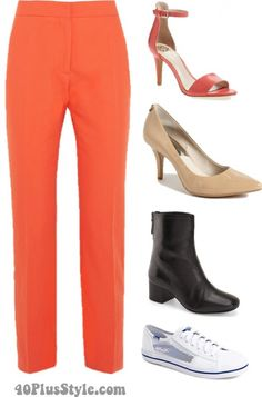 Straight leg pants shoes boots pumps flats | 40plusstyle.com
