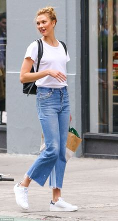 Out and about: The former Victoria's Secret Angel was spotted enjoying a stroll through th...