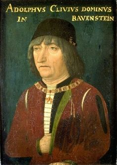 с.1485.Adolph of Cleves, Lord of Ravenstein (1425- 1492) oil on oak.34.2×28.2 cm.Gemäldegalerie, Berlin. Master of Portraits of Princes  (fl.c.1490)