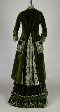 Promenade dress, Emile Pingat, silk and metallic thread, c. 1888, French.