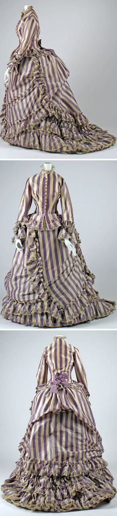 Visiting dress, Mme. Marguerite, Paris, ca. 1867. Silk, wool, cotton. Metropolitan Museum of Art