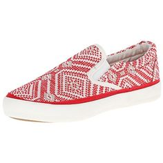 Pink & Pepper Women's Prosper Fashion Sneaker, Red/White, 8.5 M US. Slip-on sneaker in faux-woven pattern with contrast trim and elastic inset at tongue.