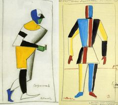 "Kazimir Malevich designs for the Cubo-Futurist opera ""Victory Over the Sun"" (1913)."