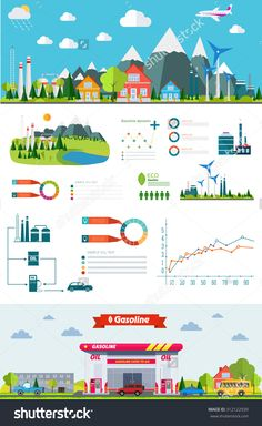 Flat Infographic Gasoline Station And Plant Design With Graphics Eco Elements…