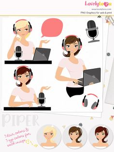 Podcast Woman Character Clipart Webinar Presenter Girl