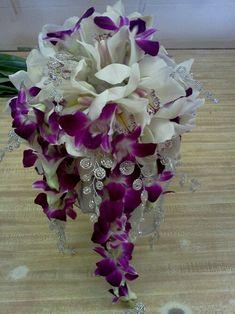 Dazzling orchid brides cascade bouquet. | Florium - Floral Event Studio | St. Augustine, Florida
