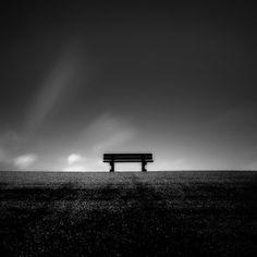 black & white bench