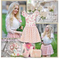 """""""Romantic Rose Skirt - romwe.com"""" by bebushkaj on Polyvore"""