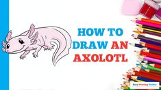 Craft Projects For Kids, Arts And Crafts Projects, Easy Animals, Popular Cartoons, Coloring Tutorial, Axolotl, Cute Diys, Animal Crafts, Step By Step Drawing