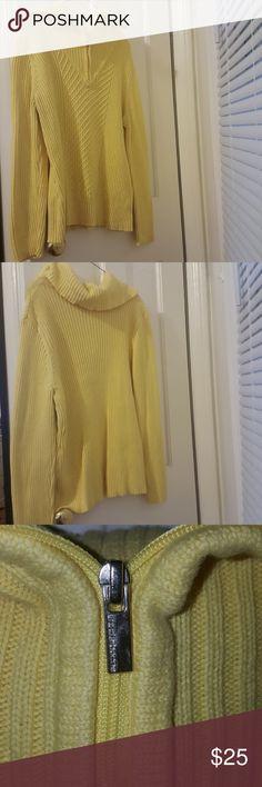 Liz Claiborne sweater Half zip knit sweater with fold over at the neck.100% cotton Liz Claiborne Sweaters