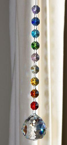 40 mm Crystal Sphere Suncatcher Rainbow by CrystalsAndRainbows