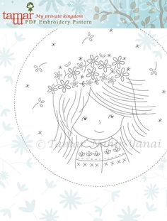 Welcome to my shop. This listing is for a PDF Download of the Embroidery Pattern: Birthday Girl Included in the PDF file: Black and white