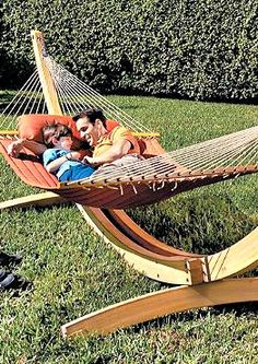 Relax in the sun or shade this summer on the Deluxe Roman Arc Hammock Stand.