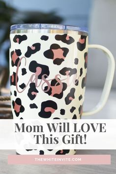 This Swig Travel mug will keep your coffee hot or your cool drink cold for hours.  Cute, trendy animal print personalized...a great gift for her!  travel mug with handle, personalized gift, travel mug cute, travel mug cute gift idea, gift ideas for her, personalized mug, bridesmaid gift mug, custom tumbler cups, gift, gift ideas, cheetah, cheetah print, animal print, animal print mug, Mom gift