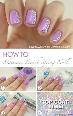 Pastel Nails - Spring nail art tutorial: http://sonailicious.com/sideways-french-spring-nail-art-tutorial/