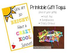 EOY Gift Tags For crazy straw, koolaid, sunglasses gift