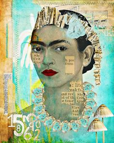 Frida Kahlo, collage style.