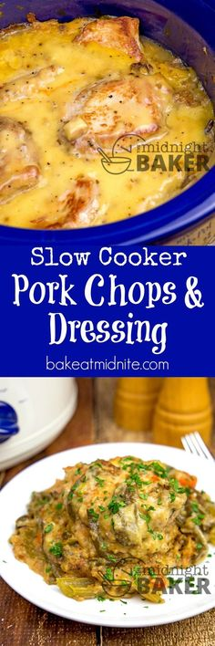 Pork chops and dressing with an easy creamy gravy is pure comfort food from your slow cooker. #easy #recipes #crockpot #slowcooker