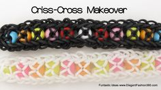 Rainbow Loom CONFETTI CRISS CROSS MAKEOVER Bracelet. Designed and loomed by Elegant Fashion 360. Click photo for YouTube tutorial. 06/23/14.