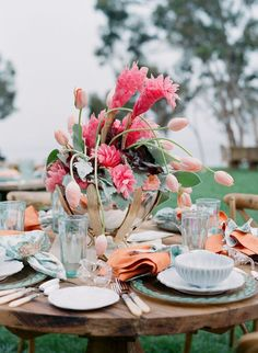 Gorgeous seafoam green, pink and peach wedding tablescape