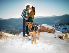Mount Falcon Park Winter Dog Engagement Photos