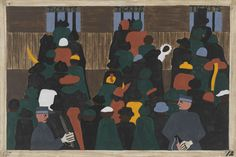 Jacob Lawrence, The railroad stations were at times so over-packed with people leaving that special guards had to be called in to keep order. (1940-41)