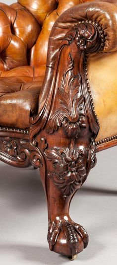 A Gentleman's Library Chair Firmly Attributed to Gillows of Lancaster 🍁⁀✿Caramel & Toffee✿⁀ 🍂 Library Chair, Library Furniture, Furniture Legs, Leather Furniture, Fine Furniture, Antique Furniture, Carpentry And Joinery, Wood Detail, Sculpture