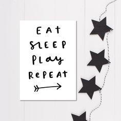 Eat Sleep Play Repeat nursery print, New baby gift, Minimalist nursery wall art, Monochrome Nursery Decor by violetandalfie on Etsy