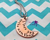 Copper Crescent Moon Pendant Personalized Necklace Moon Jewelry I love you to the moon and back Necklace Girlfriend Gift Mothers Day Gift