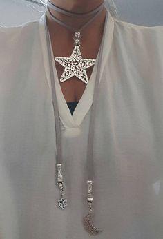 Lariat gargantilla collar estrella grande colgante