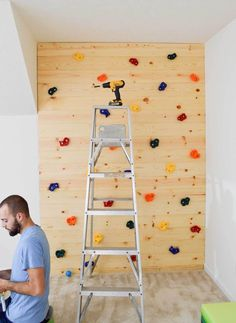 """When we built our house we decided on putting in an extra room that the builder called a """"bonus room"""". Toddler Climbing Wall, Indoor Climbing Wall, Kids Climbing, Modern Playroom, Playroom Wall Decor, Playroom Furniture, Playroom Ideas, Playroom Organization, Lac Champlain"""