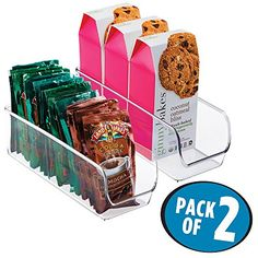 mDesign Refrigerator Freezer Pantry Cabinet Organizer Bins for Kitchen  11 x 4 x 35 Pack of 2 Clear -- This is an Amazon Affiliate link. Want to know more, click on the image.