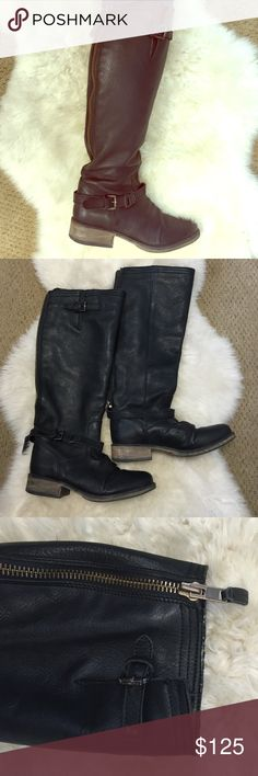 """Steve Madden leather boots Great fall/winter boots! In EUC. Soles are barely worn. Adjustable calf buckle. I can wear a pair of jeans with them. *sz 8 but fits closer to an 8.5/9. You can wear the thickest socks or tights with how comfortable the shaft of the boot is. Height from ankle buckle to top of boot : 15"""" Calf at the 2nd to tightest hole is: 7"""". Please measure before purchase! Steve Madden Shoes Winter & Rain Boots"""