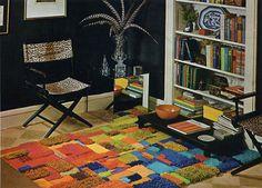 carpet sample rug. diy. 1960s. 1970s. vintage craft project.