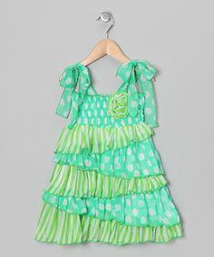 Green Polka Dot Ruffle Dress - Toddler & Girls