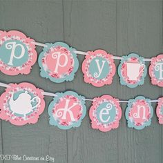 Floral Shabby Chic TEA PARTY Birthday Banner  by ktbluecreations