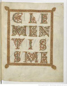 Sacramentarium. [Sacramentaire dit de Drogon]. Escrito en carolina minúscula, pero capitales y versales dentodo tipo
