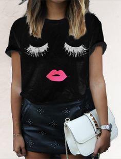 Black Eyelash Lips Print Short Sleeve Tee