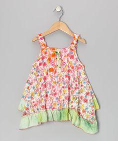 Look at this #zulilyfind! Pink & Green Mila Ruffle Handkerchief Dress - Toddler & Girls #zulilyfinds