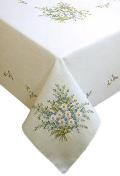 Tobin Forget Me Not Stamped Oblong Tablecloth for Embroidery
