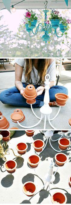 Chandelier Planter Tutorial   DIY Garden Projects Ideas Backyards   DIY Garden Decoartions Budget Backyard