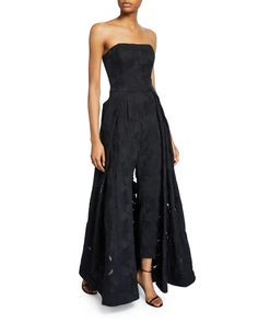 Halston Strapless Lace Jacquard Skirt Overlay Jumpsuit In Black Strapless Dress Formal, Formal Dresses, Tea Dresses, Formal Outfits, Wedding Outfits, Prom Dresses, Designer Jumpsuits, Crepe Skirts, Jumpsuit With Sleeves