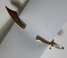 Vintage SWANK Sword Tie Clip Mother of by PopcornVintageByTann
